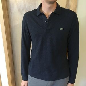Lacoste Long Sleeved Heather Blue Polo
